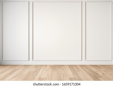 Modern classic white empty interior with moldings and wooden floor. 3d render illustration mock up.