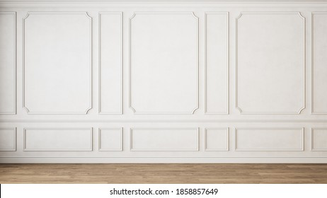 Modern classic white empty interior with wall panels molding and wooden floor. 3d render illustration mock up.