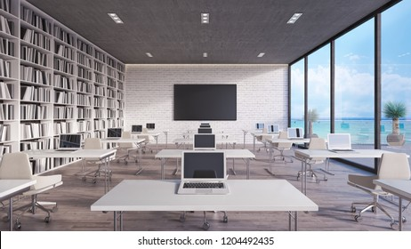 modern classroom interior design 3d render 3d illustration