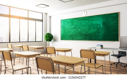 Modern classroom interior with empty chalkboard, furniture and daylight. Education and school concept. Mock up, 3D Rendering
