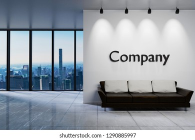 Modern clean office waiting area reception with skyline view, white wall with company lettering, 3D Illustration