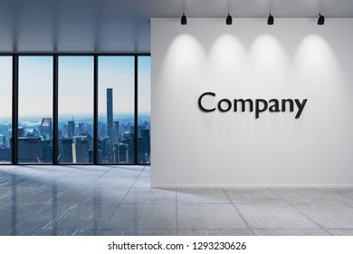 Modern clean office waiting area reception skyline view, wall with company lettering, 3D Illustration