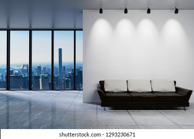Modern clean office waiting area reception skyline view, wall copy space, 3D Illustration
