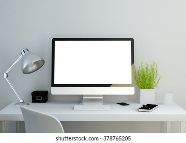 modern clean workspace mockup with blank screen. 3D illustration.