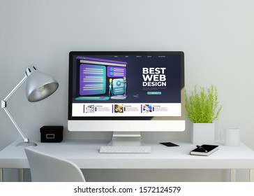 modern clean workspace mockup with  responsive template website on screen. 3D rendering. all screen graphics are made up.