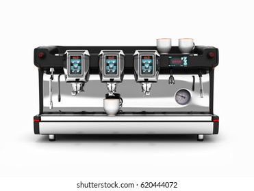 Modern Coffee Machine front view isolated on white background 3d