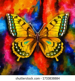modern colorful butterfly oil painting. Abstract painting for interior decoration. contemporary style artwork with chaotic paint strokes and splashes, artist collection of animal painting.