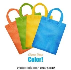 Modern colorful canvas tote bags collection online season sale corporate identity template advertisement poster realistic  illustration