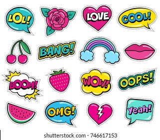Modern colorful patch set on white background. Fashion patches of cherry, strawberry, watermelon, lips, rose flower, rainbow, hearts, comic bubbles. Cartoon 80s-90s pop art style.