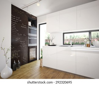 Modern and comfy kitchen interior (3 d render using 3 d s max)