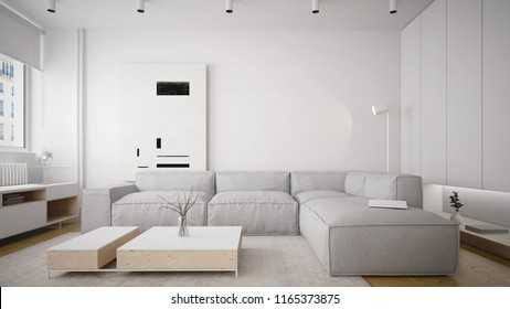 Modern and comfy sofa in bright living room interior - 3 d render