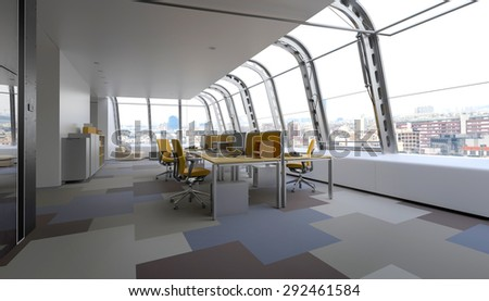 modern commercial office curved glass windows stock illustration