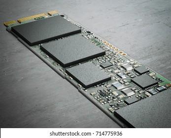 Modern computer chip. Bitcoin minig cocept. 3d rendering