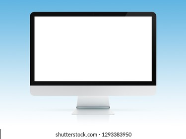 Modern computer monitor mockup isolated on blue background 3d rendering