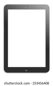 Modern computer tablet with  blank screen. White background