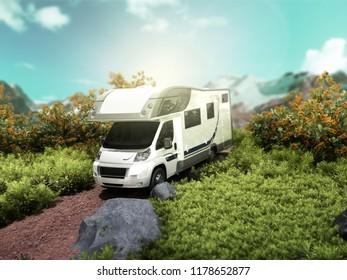 modern concept of family travel The house on wheels rides along the road on a patch of nature 3d render as traviel background