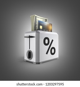 Modern concept of fast loans and payments Credit cards and stack of money american hundred dollar bills in the toaster with drawn percent isolated on black gradient background 3d render