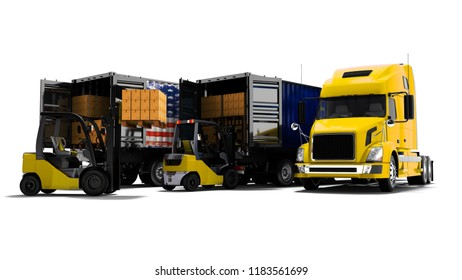 Modern concept of loading and unloading cargo from truck with paper boxes and yellow forklift with pallet, 3d render on white background with shadow