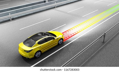 modern concept of a safe car Collision avoidance system 3d render image