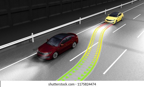 modern concept of a safe car Collision monitoring system 3d render image