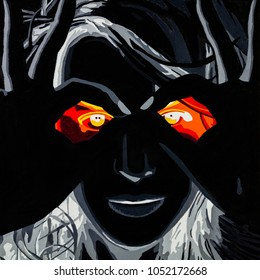 Modern conceptual art oil on canvas painting of a woman with infrared eyes.