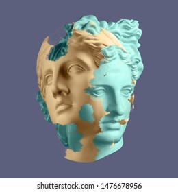Modern conceptual art poster with ancient statue of bust of Venus. Collage of contemporary art.