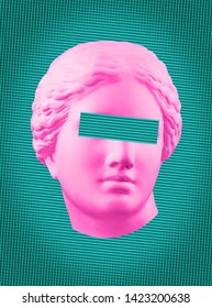 Modern conceptual art poster with green pink colorful antique Venus bust. Contemporary art collage.