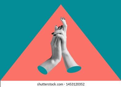 Afiche de arte conceptual moderno con las manos en un estilo de massurrealismo. Collage de arte contemporáneo.
