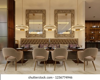 The modern conceptual interior design of the restaurant is in contemporary style with classic elements. 3d rendering.