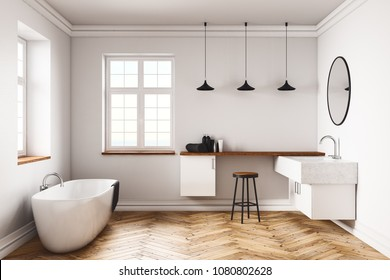 Modern concrete bathroom interior with equipment and window. Hotel and residence concept. 3D Rendering