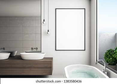 Modern concrete bathroom interior with mirror, sinks and empty poster. Design concept. Mock up, 3D Rendering