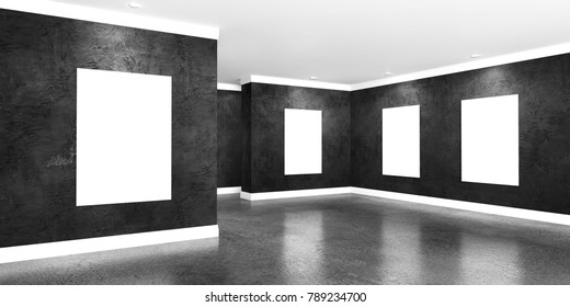 Modern concrete gallery room with directional spotlight and frames. Product artwork exhibition mock up. White isolated art frames. 3d rendering illustration of interior with black plaster walls.