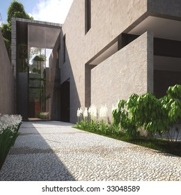 Modern concrete house with flower garden in Mexico (3D render)