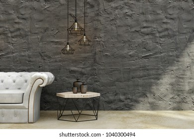 Modern concrete living room interior with leather sofa, coffee table, decorative ceiling lamps and copy space on wall. Mock up, 3D Rendering
