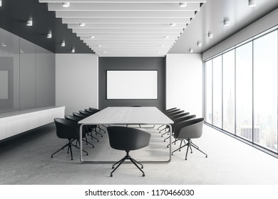 Modern concrete meeting room interior with empty banner. Mock up, 3D Rendering