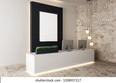 Modern concrete office lobby interior with empty banner and equiment on reception desk. Mock up, 3D Rendering