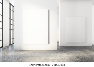 Modern concrete room interior with empty banner and city view. Gallery, exhibition, advertising concept. Mock up, 3D Rendering