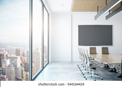 Modern conference room with empty chalkboard with city view. Mock up, 3D Rendering