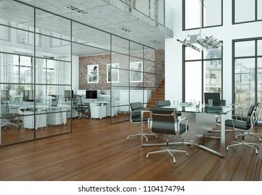 Modern conference room interior design. 3d rendering mock up