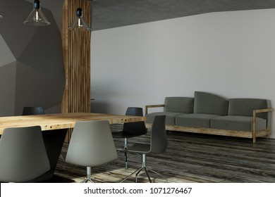 modern conference room interior with louge area 3d rendering