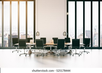 Modern conference roon with equipment and city view. 3D Rendering