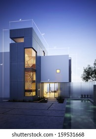 Modern construction with blueprint design accents with room for text or copy space on an evening sky background.