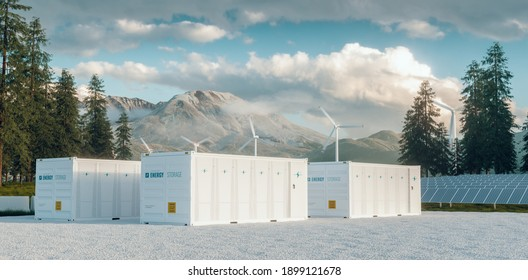 Modern container battery energy storage power plant system accompanied with solar panels and wind turbine system situated in nature with Mount St. Helens in background. 3d rendering.