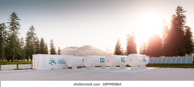 Modern container hydrogen energy storage power plant system accompanied with solar panels and wind turbine system situated in nature with Mount St. Helens in background. 3d rendering.