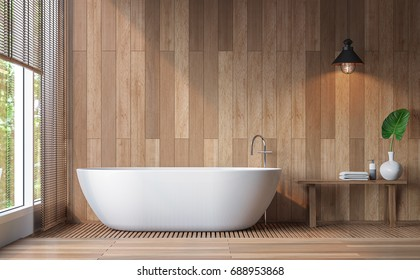 Modern contemporary bathroom 3d rendering image.Decorate wall and floor with wood .There are large windows look out to see the nature