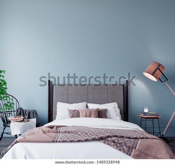 Modern Contemporary Bedroom Design Light Blue Stock ...