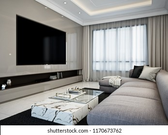 Modern contemporary home theater room/ 3D render