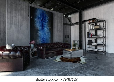 A modern, contemporary, industrial style polished concrete living room interior with leather lounges and art hanging. 3d Rendering
