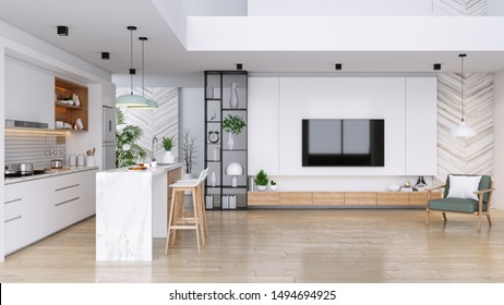 Modern Contemporary living and kitchen  room interior .white and wood material 3d render