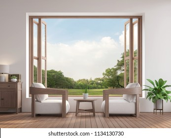 Modern contemporary living room 3d render,There are wooden floor furnished with fabric and wood furniture,There are large open window overlooking to garden view.